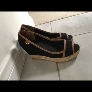 Tory Burch Blackroyal Tan Majorca Wedges